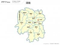 湖南省地图矢量PPT模板