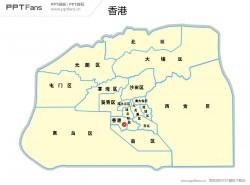 香港地图矢量PPT模板