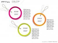圆环便签式多种关系PPT模板