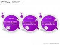紫色圆形三部分PPT模板