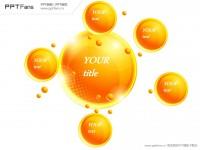 六部分总分关系黄色圆球PPT模板