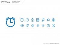 一套简洁的手机闹钟PPT图标