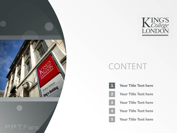King's College London PPT Template Download | 伦敦大学国王学院PPT模板下载_幻灯片1