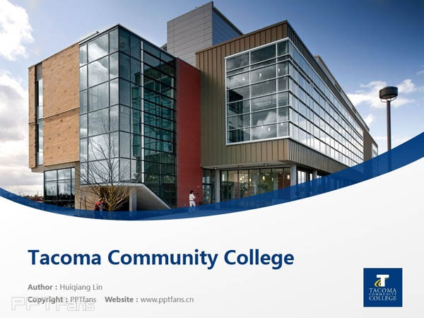 Tacoma Community College powerpoint template download | 塔科马社区学院PPT模板下载_slide0