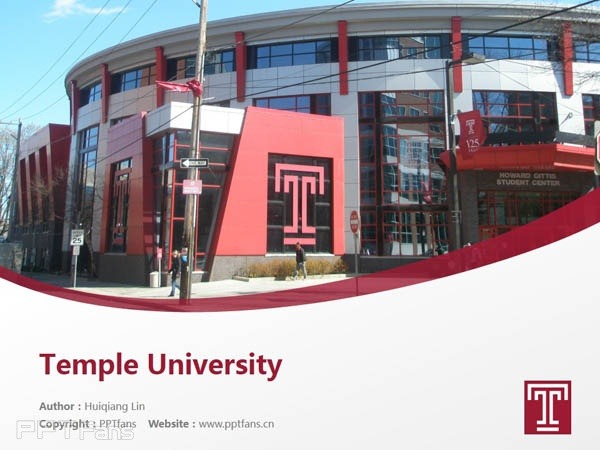 Temple University powerpoint template download | 天普大学PPT模板下载_slide0