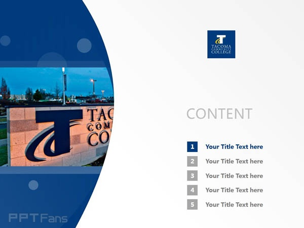 Tacoma Community College powerpoint template download | 塔科马社区学院PPT模板下载_slide1