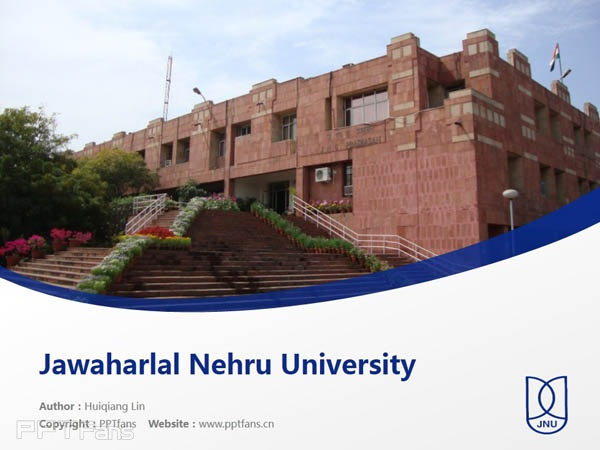 Jawaharlal Nehru University powerpoint template download | 尼赫鲁大学PPT模板下载_幻灯片预览图1
