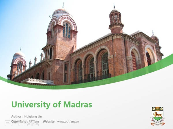 University of Madras powerpoint template download | 馬德拉斯大學PPT模板下載_幻燈片預覽圖1