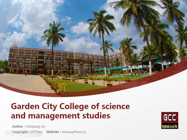 Garden City College of science and management studies powerpoint template download | 班加罗尔大学花园城市学院PPT模板下载_幻灯片预览图1
