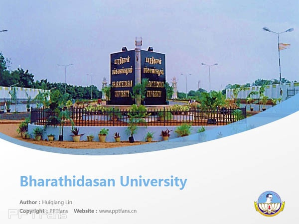 Bharathidasan University powerpoint template download | 巴拉迪大学PPT模板下载_slide1