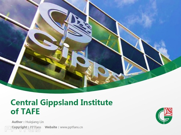 Central Gippsland Institute of TAFE powerpoint template download | 中吉普斯兰理工学院PPT模板下载_幻灯片预览图1