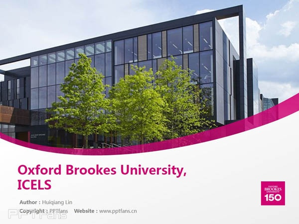 Oxford Brookes University, ICELS powerpoint template download | 牛津布鲁克斯大学PPT模板下载_slide0