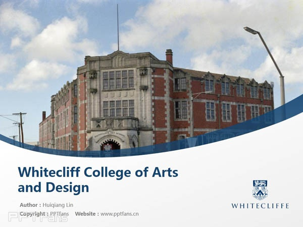 Whitecliff College of Arts and Design powerpoint template download | 怀特克利夫艺术设计学院PPT模板下载_幻灯片预览图1