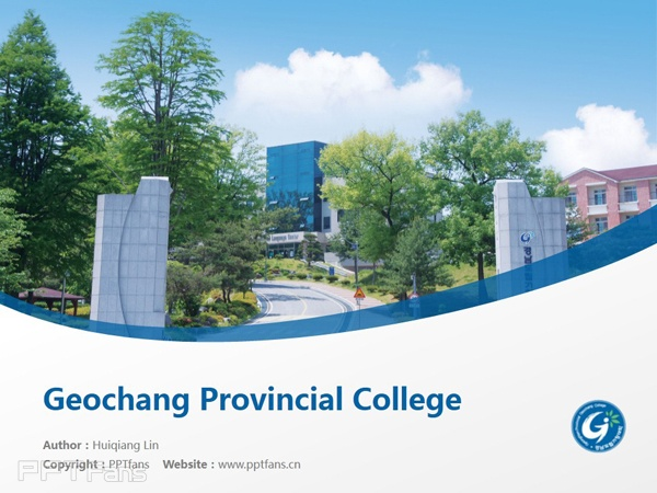 Geochang Provincial College powerpoint template download | 庆南道立居昌大学PPT模板下载_slide0