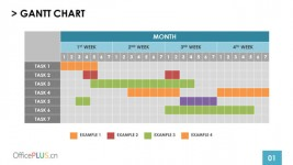 三组扁平化风格甘特图PPT模板下载