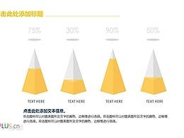 三组金色的柱形图PPT模板下载