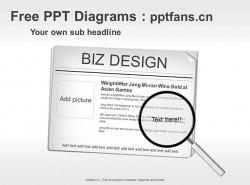 新闻焦点图放大镜PPT模板