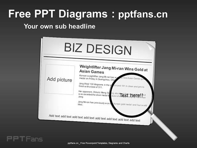 新闻焦点图放大镜PPT模板_预览图2