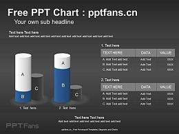 商务感十足的立体柱状图PPT模板