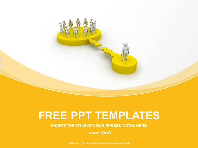 团队合作关系黄色PPT模板_预览图1