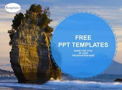 海滩岩自然风景PPT模板