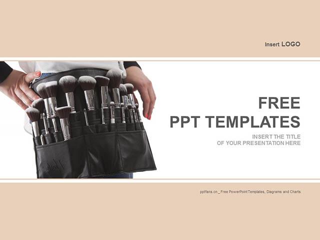 化妆刷PPT模板下载_预览图1