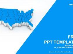 美国地图PPT模板下载