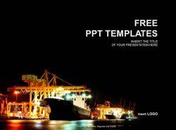 码头夜景PPT模板下载