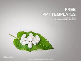 葉子上的藥片PPT模板下載