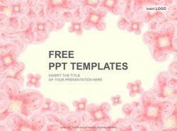 粉色花朵PPT模板下载