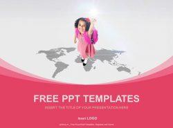 地图上的小女孩PPT模板下载