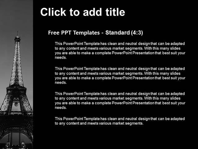 夜色中的埃菲尔铁塔黑白PPT模板下载_预览图3