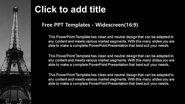 夜色中的埃菲尔铁塔黑白PPT模板下载_预览图7