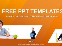 三个学生PPT模板下载