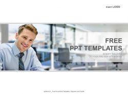 微笑的商人PPT模板下载