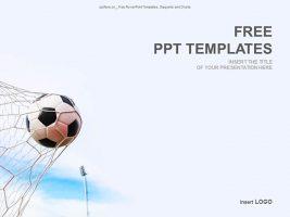 飞入网中的足球PPT模板下载