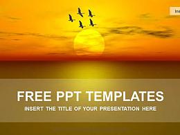 夕阳西下PPT模板下载