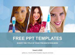 拿着牙刷的女孩PPT模板下载