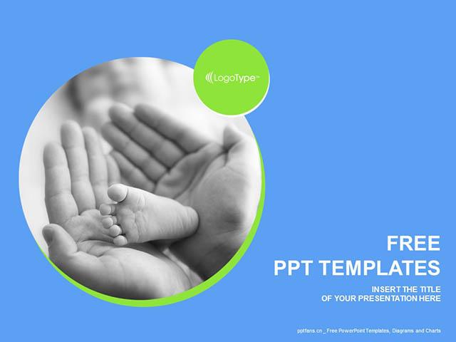 抚摸宝宝的小脚PPT模板下载_预览图1