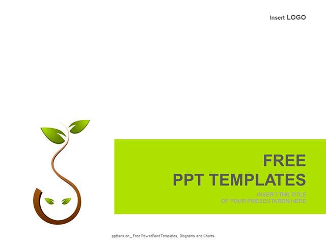 树叶PPT模板下载_预览图1