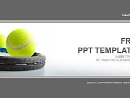 網球和網球拍PPT模板下載