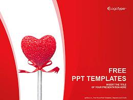 情人节棒棒糖PPT模板下载