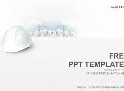 白色安全帽PPT模板下载