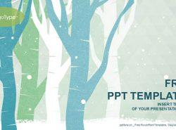 风雪中的树艺术水彩画PPT模板下载