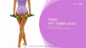 女士哑铃健身浅紫色背景PPT模板下载