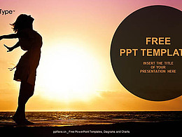 享受夕阳的女生PPT模板下载