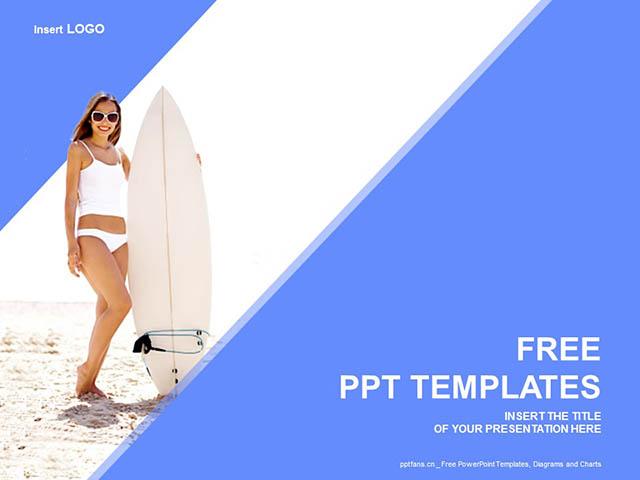 生活写意/冲浪的少女蓝色PPT模板下载_预览图1