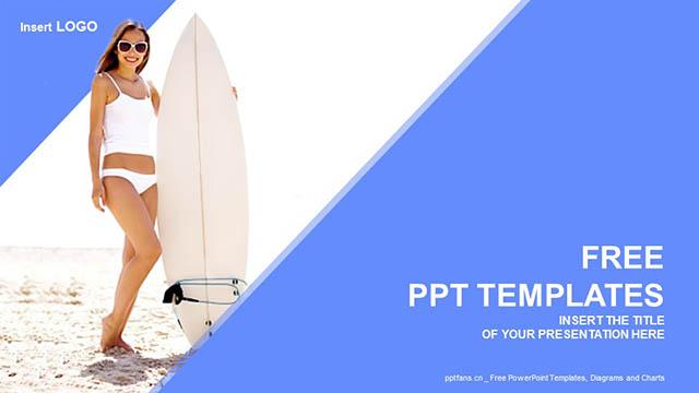生活写意/冲浪的少女蓝色PPT模板下载_预览图4