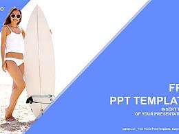 生活寫意/沖浪的少女藍色PPT模板下載