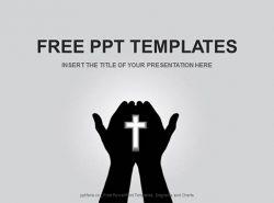 手掌中的十字架PPT模板下载